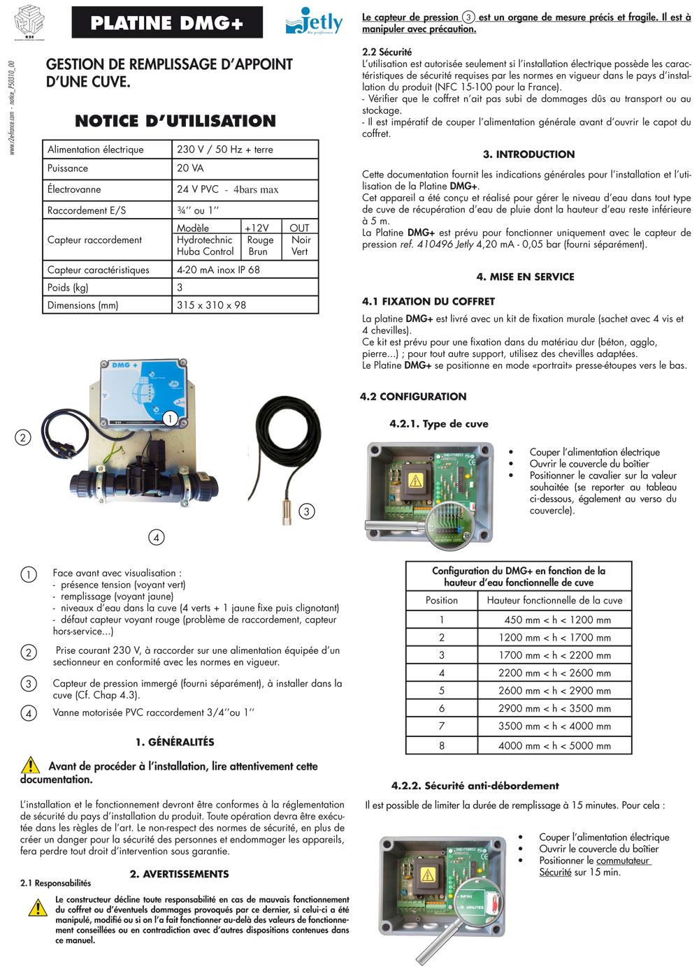 Notice DMG+, coffret de pompe hydraulique