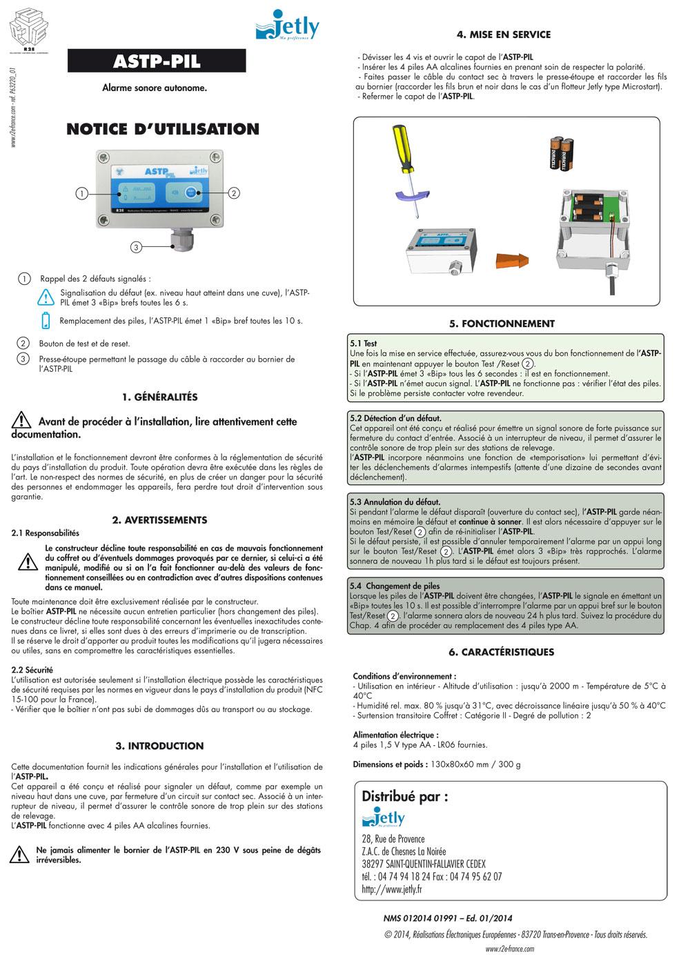 Notice alarme sonore ASTP-PIL, bureau étude électronique