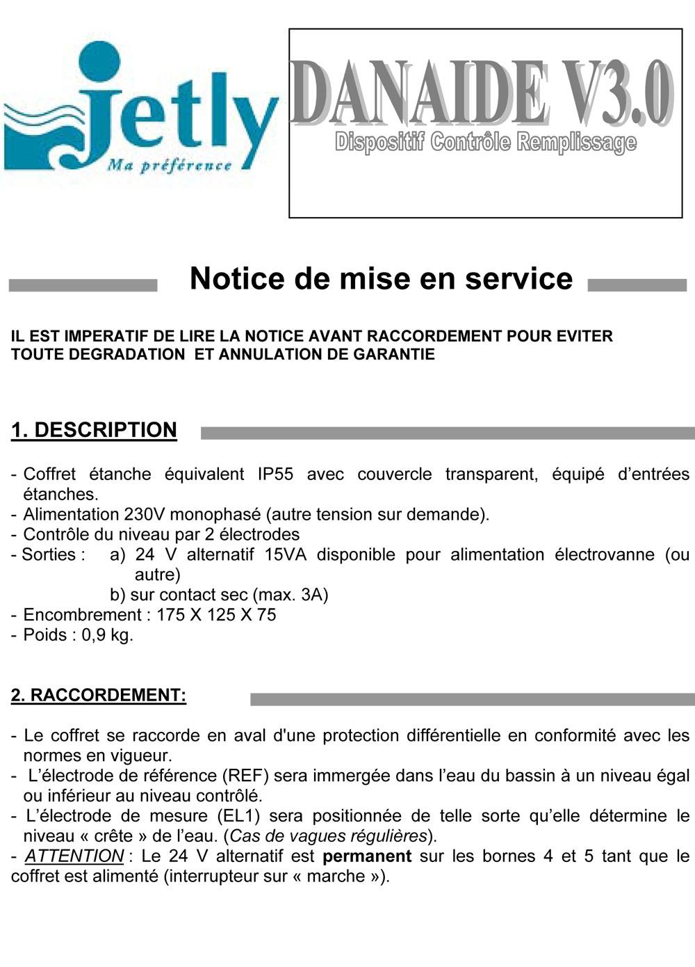 Notice DANAÏDE, protection de pompes hydraulique